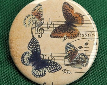 Butterflies and Music Pocket Mirror 2 1/4 inch  2.25