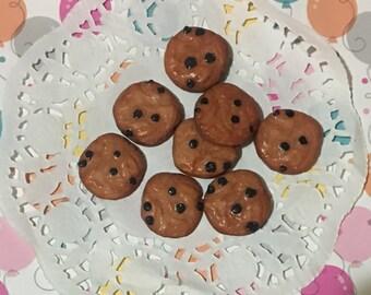 Kawaii Resin Chocolate Chip Cookies Flat Backs Decoden Fun | 5 pieces