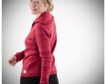 Organic Woolen Cardigan with Two-way Zipper Red/Pink