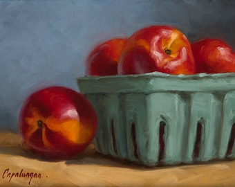 Nectarines - Fine Art Giclee Print - Original Oil Painting - Still Life - Kitchen Decor