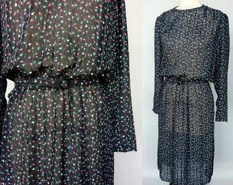 petals / 1980s sheer black floral long sleeve dress / medium - large