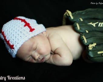 Crochet Baseball Hat, Newborn baseball Hat, Baby Boy Hat, Baby girl Hat, Toddler Hat /HOME RUN Baby Hat   (Ready to Ship)