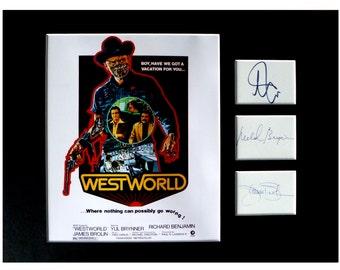 WESTWORLD movie AUTOGRAPH photo display Yul Brynner Richard Benjamin James Brolin
