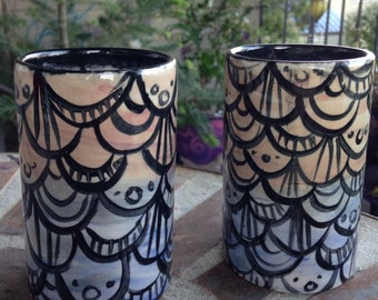 Sunset Mermaid Scale cup set of two