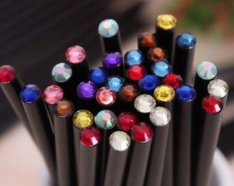 Jewel Pencils, Black Pencils with colorful rhinestone jewels, Set of 5 Bling Pencils, Pencil Set, Gem Pencils, Back to School Pencils