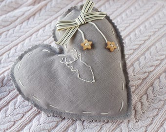 Large grey linen hanging heart, featuring a hand embroidered stag