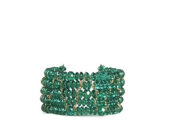 Green Glass Bead and Gold Chain Cuff Bracelet