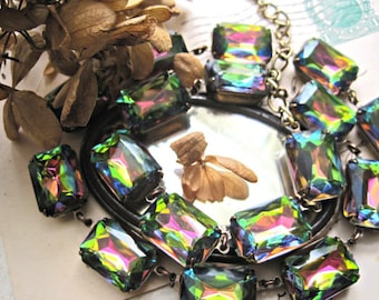 """lgbt jewelry, rainbow statement Necklace, Downton abbey necklace, Anna Wintour, multi color necklace, rainbow necklace. """"Born This Way"""""""