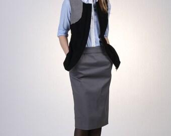 Gray Basic Pencil Skirt with Pocket, Cotton Pencil Skirt, Straight Skirt, Tailored Skirt, Wear to Work Skirt, Pocket Skirt - Handmade