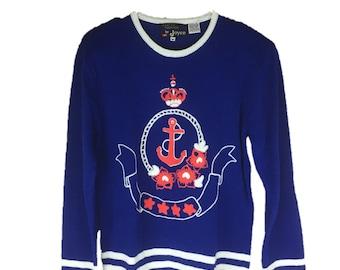 Vintage Nautical Sweater | 80s Blue Sweater | 1980s Anchor Sweater | Regatta Sweater | Blue Nautical Sweater | Stripe Regatta Collection M