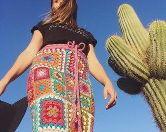RAINBOW SKIRT, maxi crochet skirt,  boho crochet skirt, granny square skirt, crochet skirt, festival skirt