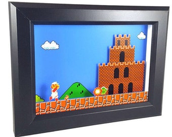 Super Mario Bros. (NES) Firey Mario Reaches Bowser's Castle Shadow Box