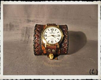 Brown leather cuff -  watch  - Tempus