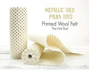 Metallic Gold Polka Dots // Printed Wool Felt // Metallic Gold Wool Felt // Gold Polka Dot Felt // Holiday Felt