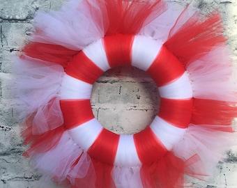 Christmas Candy Cane wreath.