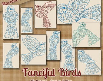 fanciful birds machine embroidery patterns designs 5 sizes 10 designs ornate decorative - Bakers Gonna Bake Kitchen Redwork Embroidery Designs