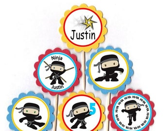 Personalized Ninja Karate Cupcake Toppers Birthday Party Decorations Set of 12