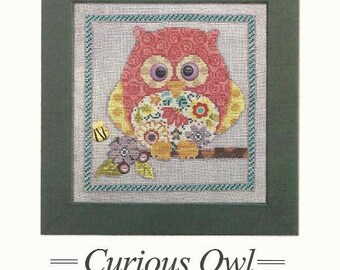 """Owl Counted Cross Stitch Pattern CURIOUS OWL from Art to Heart 7 3/8"""" x 7 5/8"""" on 14/28 ct - Includes 8 Buttons from Just Another Button Co"""