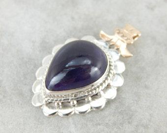 Royal Purple Amethyst Pendant with Victorian Details 2RU26Y-R