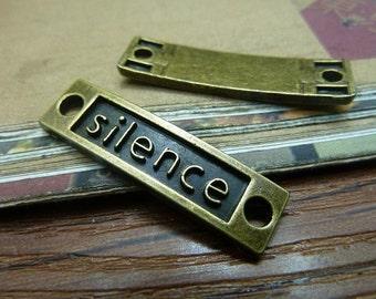 10pcs 10x36mm The Slilence  Antique Bronze Retro Pendant Charm For Jewelry Bracelet Necklace Charms Pendants C6641