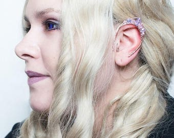 Elf Fairy Ear Crystal Gems Fantasy Fairytale Cosplay ear cuff wrap - V11 pale LAVENDAR/PINK crystals