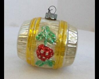 Vintage Christmas Ornament Handblown Barrel