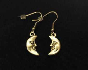 HALF MOON Charm Earrings Stainless Steel Ear Wire Silver Metal Unique Gift