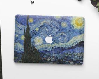 """Macbook Pro skin Van Gogh """"Starry Night"""" Macbook Pro 13 skin Macbook Pro 15 skin Macbook Pro 2018 skin. Macbook Air skin."""