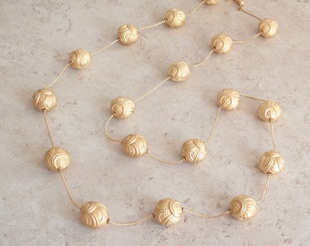 Bead Station Necklace Anne Klein Brushed Gold Sunflower Beads 36 Inch Vintage 050216RV