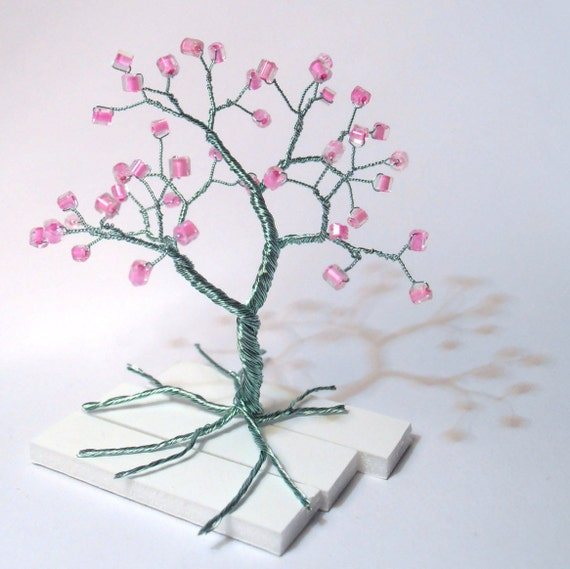 blau rosa Perlen Draht Baum des Lebens Draht Kunst Baum