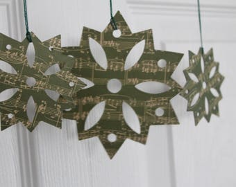 9 Green Music Note paper/chipboard large/small Snowflake die cuts use as ornaments, garlands+
