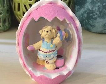 "Muffy Vanderbear ""Walking In Eggshells"" Vintage Ceramic Easter Teddy Bear Figurine North American Bear Company"