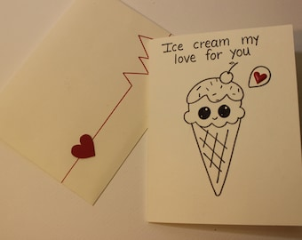 Valentine's Day Card | Ice cream my love for you Card | Love card