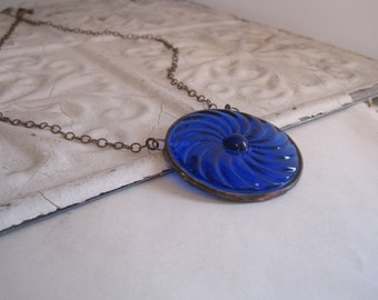 Blue Medallion Glass Necklace Bib Statement Pendant