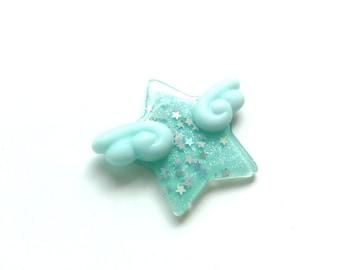 Pastel Kei Blue Star Hair Clip or Brooch, Kawaii Angel Wings, Winged Star Brooch, Kawaii Brooch, Fairy Kei Hair Clip, Mahou Shoujo, Harajuku