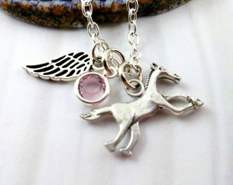 Horse Memorial Gift Necklace Horse Memorial Jewelry Angel Wing Necklace Pet Loss Equestrian Jewelry Horse Jewelry