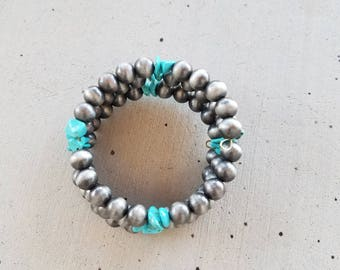 Turquoise Chips and Navajo Pearls Bracelet