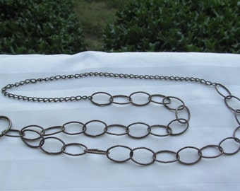 Antique Brass Chain ID Badge Lanyard Twisted Links Chain Lanyard