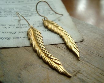 Feather Earrings - Raw Brass. Long Dangles Boho Chic Bohemian Hippie Statement Earrings Coachella Brass Jewelry Nature Bird