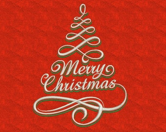 Machine embroidery designs Merry Christmas Tree evergreen  2 Sizes  Instant Download