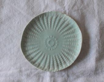 Porcelain Cake Plate / Handmade Ceramics / Small Plate / Lace Imprinted / Side Plate / Light Blue / Food Safe