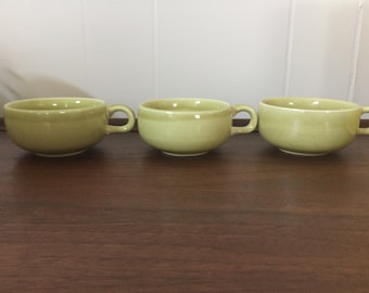 3 Russel Wright Steubenville chartreuse cups