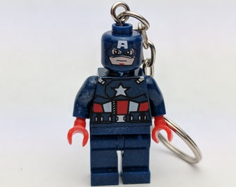 Cpt America Avengers Minifigure Keyring / Bag Charm / Keychain. Marvel, Avengers, Captain America