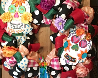 Dia de los Muertos, Day of the dead, sugar skulls, 26 inch wreath, hand painted handmade with colorful ribbons