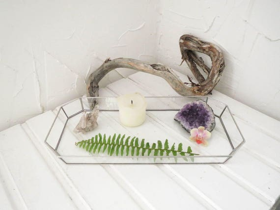 Stained glass clear tray jewelry holder makeup holder