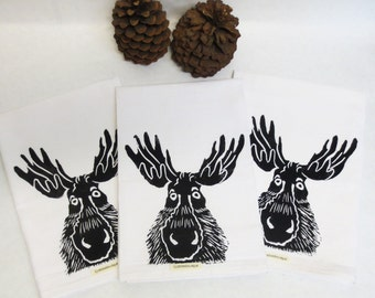 Cotton huck Tea Towel or Dish Towel with Moose Face Hand Block Print Print