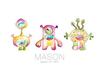 Baby Shower Gift - Alien Nursery Art - Nursery Decor - New Baby Gift - Alien Baby Print - Personalized Children's Art
