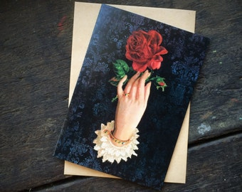 Valentines Gothic Wiccan Witchcraft, Vintage Red Rose Floral Love Spell,Christmas,Mothers Day, Luxury greeting card.