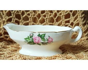 Vintage Porcelain Gravy Boat with Warranted 22kt Gold Rim