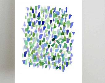 Sea Glass Art,Watercolor Print, Abstract Watercolor Painting Blue Green White